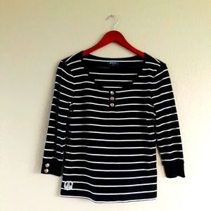 American Living Preppy Black White Stripe Top M